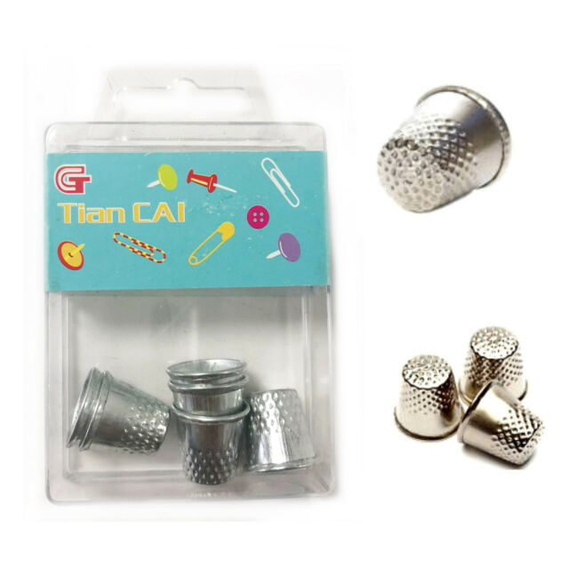 6 Thimble Metal Shield Sewing Thumb Finger Protector Quilt Grip Pin Needle Dress