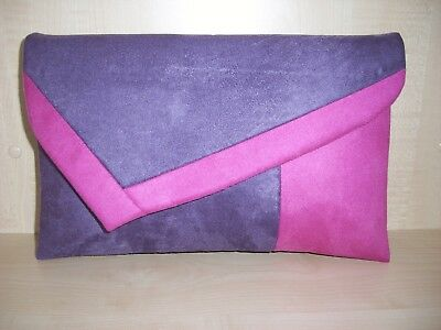 OVER SIZED  BURNT ORANGE /& NAVY BLUE faux leather /& suede lined clutch bag UK