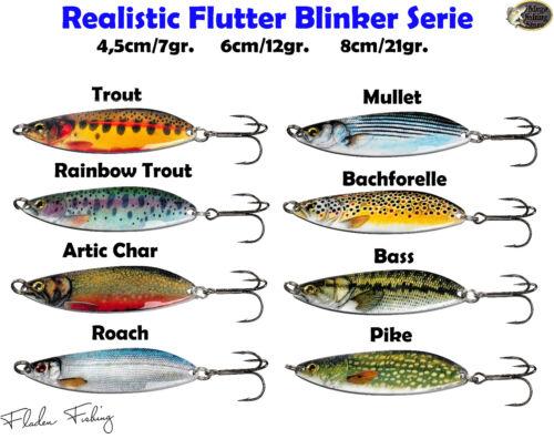 Fladen Realistic Flutter Blinker Hecht Zander Meerforelle 3D Design alle Größen