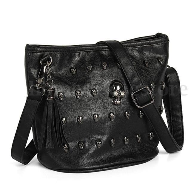 Fashion Women Skull Punk Leather Goth Tassel Messenger Shoulder Bag Tote Handbag
