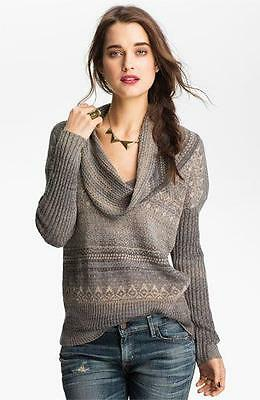 FREE PEOPLE~$108.00~GRAY *COWL-NECK NORDIC SWEATER* WOOL BLEND KNIT PULLOVER~L