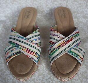 Soft Style Hush Puppies Womens Sandals Slides Size 9 M Beige Multi