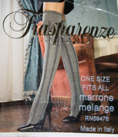 Trasparenze Thigh High Stockings Made In Italy Gray Black Striped One Size