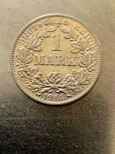 DEUTSCHES REIGH -1 GERMAN SILVER MARK YEAR 1914 AA -RRRRR