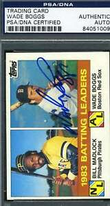 Wade-Boggs-Psa-Dna-Coa-Autographed-1984-Topps-Ldrs-Authentic-Hand-Signed