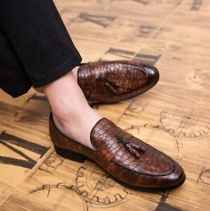 Chic-Mens-Alligator-Leather-Dress-Formal-Shoes-Business-Slip-On-Tassels-Loafers