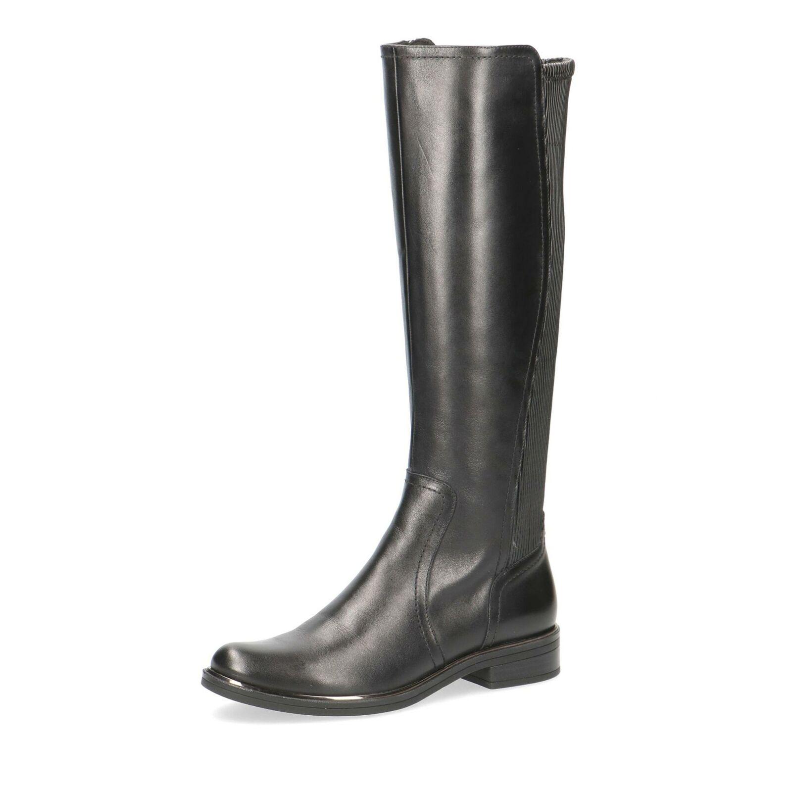 Caprice Damen klassische Stiefel Langschaftstiefel Lederstiefel Schuhe schwarz