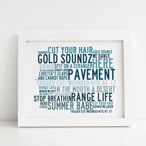 Framed Original Art Greatest Hits Album Lyrics Print Arctic Monkeys Poster