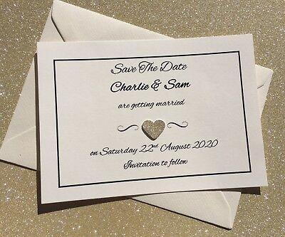 Capace Glitter Cuore Personalizzato Fatto A Mano Salva La Data Cards & Buste Corrispondenza-mostra Il Titolo Originale