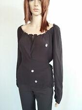 HUGO BOSS Ladies Silk Brown Wrap Scoop Neck Long Sleeve Top Blouse sz 10 AO41