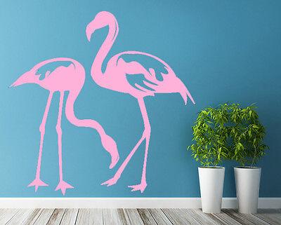 Vinyl Wall Decal Flamingo Birds Couple, Romantic Love Art Decor Home Sticker