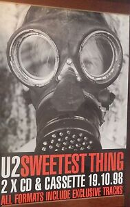 40x60-034-HUGE-SUBWAY-POSTER-U2-1998-Sweetest-Thing-Gas-Mask-CD-Cover-NOS-Original