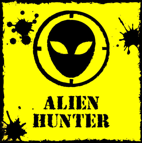 Diecut vinyl adhesive sticker decal 100 x 100mm Alien Hunter