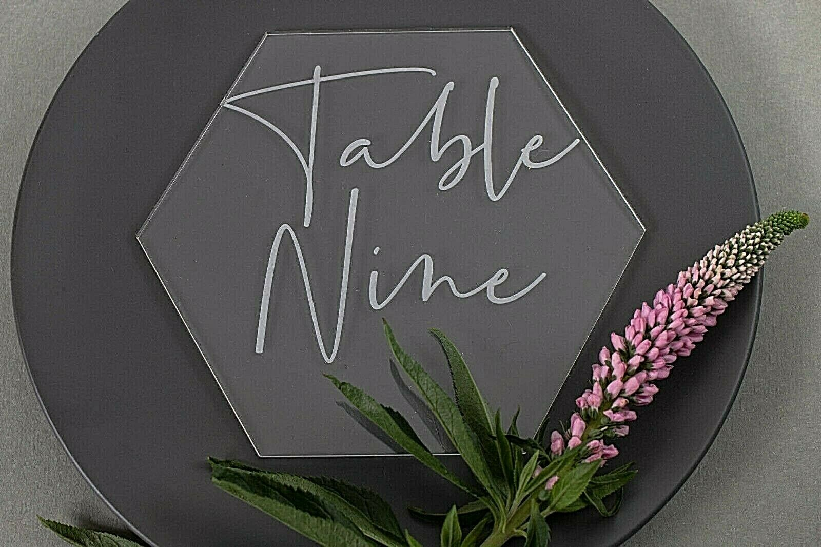 Table Number or Name in Acrylic Clear Hexagon, Personalised Wedding Decoration