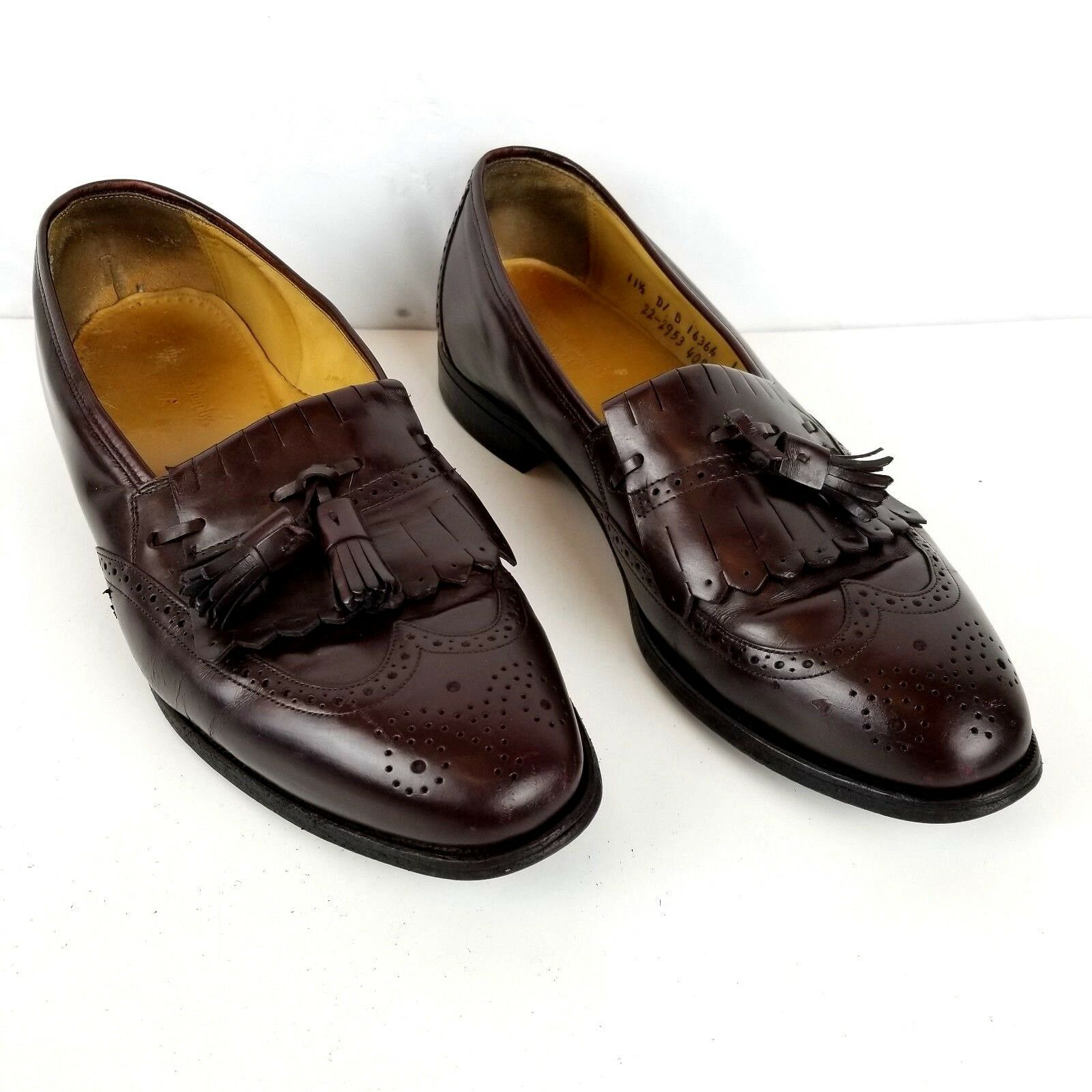 Johnston Murphy Men 11.5D OPTIMA Cordovan Wing Tip Leather Baroque Loafers shoes