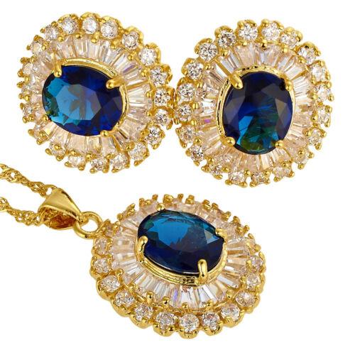 Noël Cadeaux Bijoux Set Ovale Strass Cristal Collier Pendentif Boucles D/'oreilles