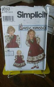 Oop-Simplicity-Daisy-Kingdom-8263-girls-party-dress-pinafore-doll-sz-5-8-NEW
