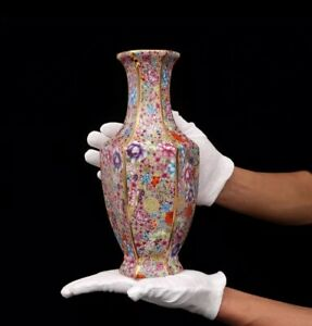 Qing-Qianlong-China-Enamel-Hexagonal-Vase-Porcelain-Chinese-Antique-Reproduction