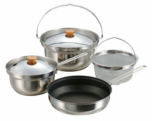 CAPTAIN STAG M-5510 Multi Stainless Cooker Set Outdoor Cookware NEW from Japan