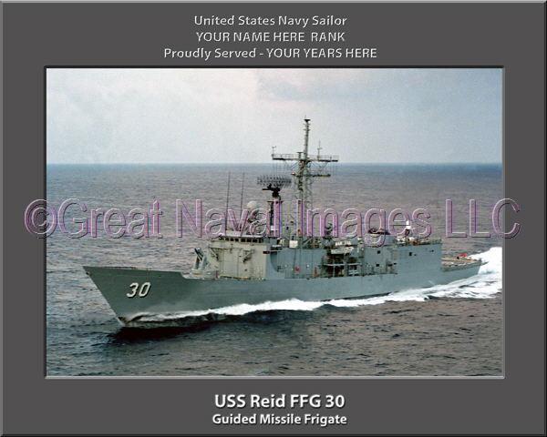 USS Reid FFG 30 Personalized Canvas Ship Photo Print Navy Veteran Gift