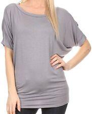 Sakkas Women's Calloway  Batwing Back Seam T shirt Top With drape, Grey, Small