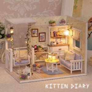Wooden Handmade Dollhouse Miniature Diy Kits Led Dust Cover Kitten