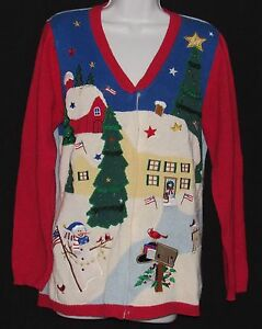 NWT MY UGLY CHRISTMAS SWEATER PATRIOTIC SNOWMAN SIZE M