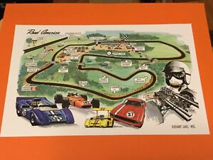 Details about 1969 Road America Track Map Auto Racing Poster Elkhart Lake