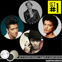 Bruno Mars Set Of 4 Buttons Or Magnets Or Mirrors Badges Pinback Pins 1377