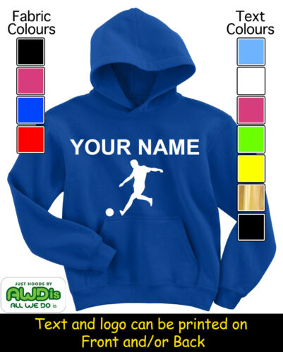 PERSONALISED CHILD/'S FOOTBALL HOODIE HOODIES GREAT KIDS GIFT /& NAMED TOO