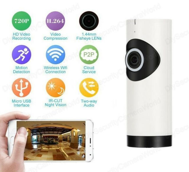 Night Vision Indoor HD Fisheye 1.0MP P2P Wireless WIFI IP Camera with Bracket