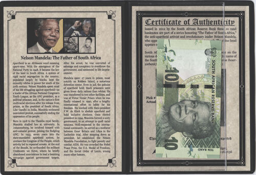 The Father of South Africa Issued in 2012 by South Africa w// COA Nelson Mandela