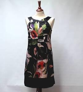 TED-BAKER-London-Bold-Multi-Col-Floral-Black-Luxury-100-SILK-Dress-Lined-UK-10