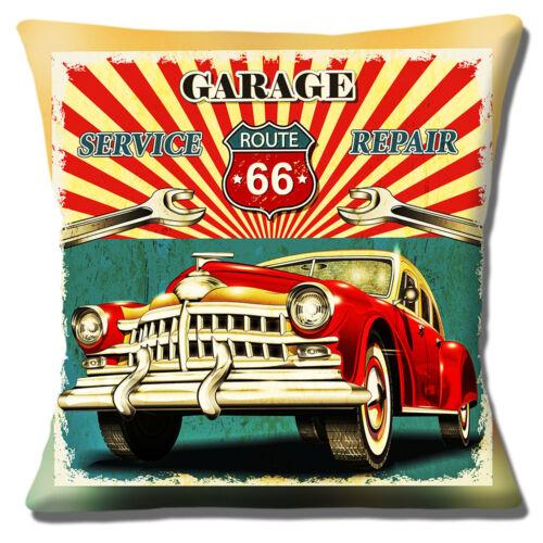 """Route 66 16/""""x16/"""" 40 cm Housse de coussin Garage Service de Réparation Automobile ancienne marbrée Finition"""
