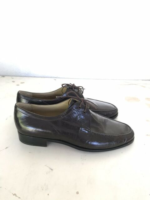 Moreschi Leather Oxford Dress Shoes Mens Brown Made in Italy Round Toe Size 9.5