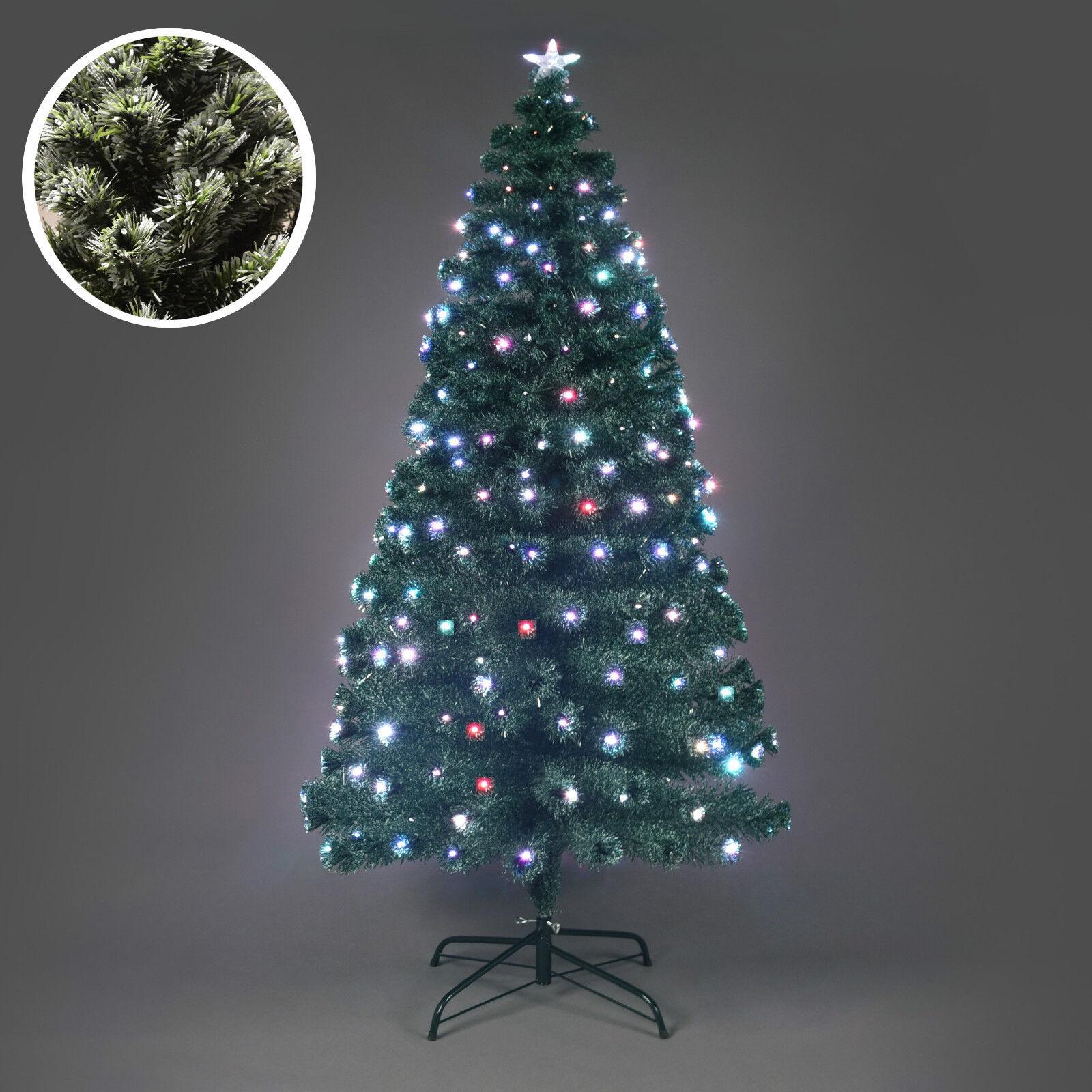 LUXURY FROSTED Grün CHRISTMAS XMAS TREE PINE FIBER OPTIC DECOR MULTIFarbe LEDS