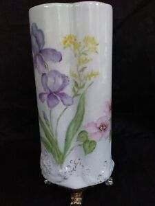Vintage Floral Vase Hand Painted Purple & Pink w/Gold Trim 12 1/2 Tall x 5 1/2