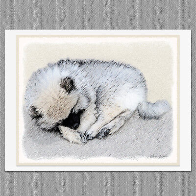 6 Keeshond Bethany Dog Blank Art Note Greeting Cards