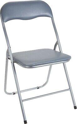 Folding Chair. Folding Grey Padded Seat & Grey Chair Metal Frame ...