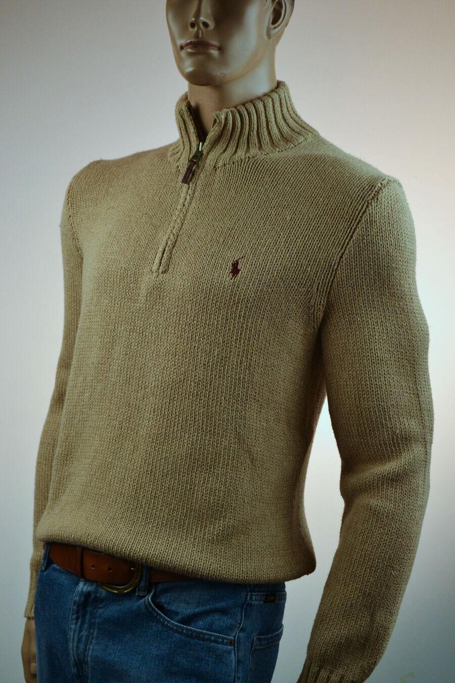 Ralph Lauren High-Twist Cotton New Camel Half-Zip Sweater Burgundy Pony -NWT