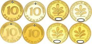 10 Pfennig 1977 D,f,g,J 4 Münzen komplett PP 56630