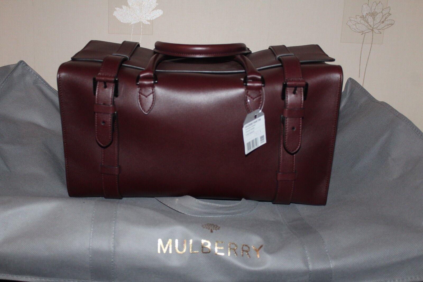 Mulberry SOMERTON Holdall Rouge Foncé En Cuir Sac de voyage sacages pendentif la nuit Duffel