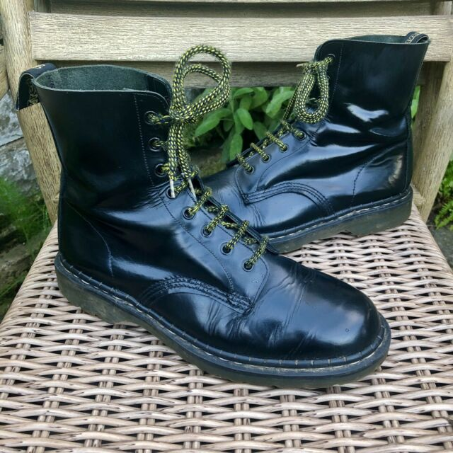 Dr Martens TREDAIR Vintage Made In England 8-Eye Black Leather Boots Size UK 10