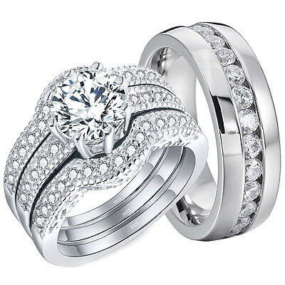 4 His Tungsten /& Hers Sterling Silver CZ 2.51Ct Wedding Engagement Ring Band Set