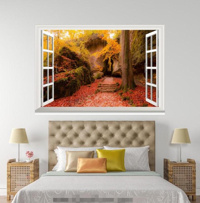 3D rot Maple Leaf 0144 Open Windows WallPaper Murals Wall Print AJ Jenny