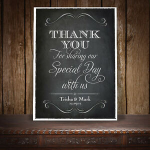 THANK YOU/SPECIAL DAY SIGN PERSONALISED VINTAGE CHALKBOARD STYLE - A