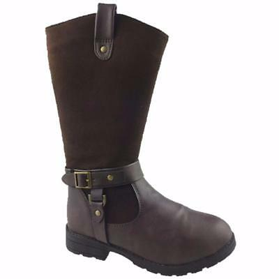 GIRLS FASHION FAUX SUEDE/LEATHER MID-CALF/WINTER BOOTS CHOCOLATE SIZE 13-6