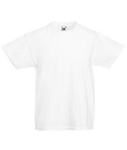 100 Fruit Of The Loom Kids Childrens Plain WHITE T-Shirts/Tee Shirts Wholesale