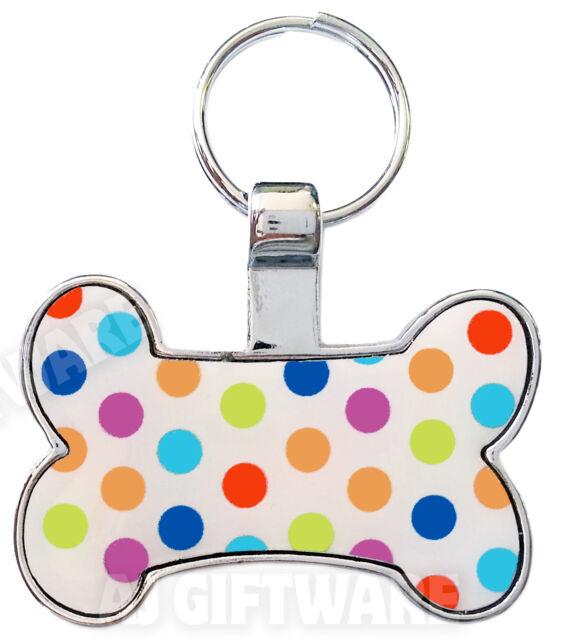 Polka Dot Dog Bone - PET NAME TAG ID DISC - PERSONALISED FREE ENGRAVING