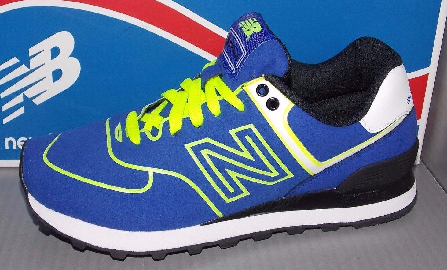 Damenschuhe NEU BALANCE WL 574 NEB in colors Blau / NEON YELLOW SIZE 6